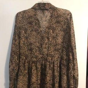 Leopard print babydoll blouse